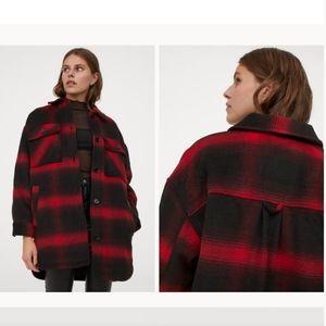 H&M Shirt Jacket Black & Red - Shacket Sz L NWT
